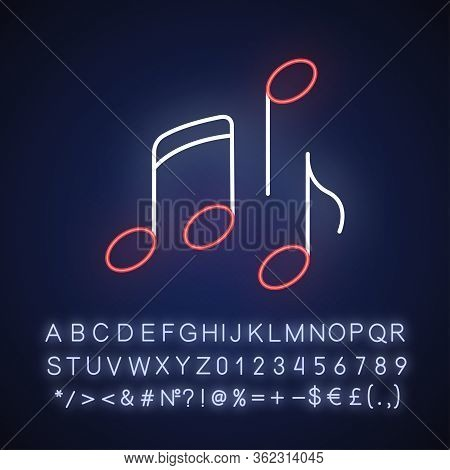 Musical Neon Light Icon. Outer Glowing Effect. Sign With Alphabet, Numbers And Symbols. Traditional