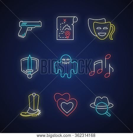 Different Movie Styles And Genres Neon Light Icons Set. Popular Film And Tv Types. Media Entertainme