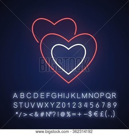 Romance Neon Light Icon. Outer Glowing Effect. Sign With Alphabet, Numbers And Symbols. Romantic Mov