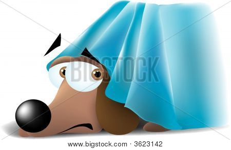 a scared dog with his head peeking out from under the bed. poster