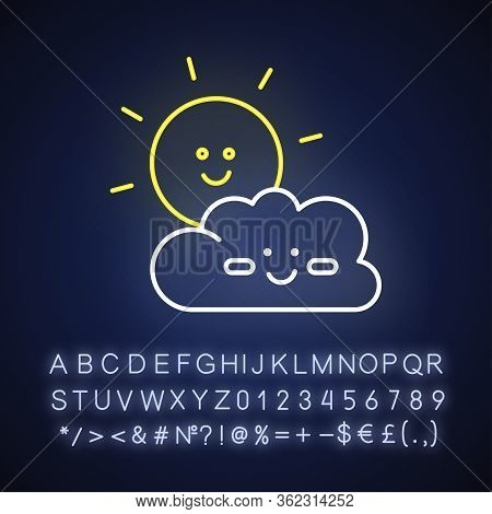 Children Cartoons Neon Light Icon. Outer Glowing Effect. Sign With Alphabet, Numbers And Symbols. Ki