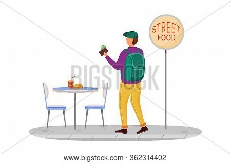 Buying Street Food Flat Vector Illustration. Cheap Travelling Ideas. Eating Not Expensive Meal. Snac