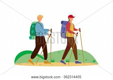 Budget Tourism Flat Vector Illustration. Hiking Activity. Cheap Travelling Choice. Active Vacation.