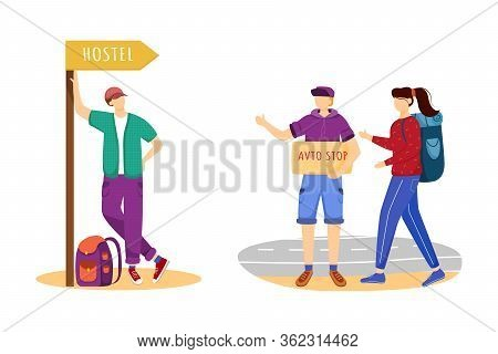 Hitchhiking Flat Vector Illustration. Cheap Travelling Ideas. Staying In Hostel. Stopping Car For Ri