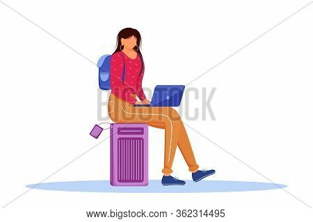 Using Laptop During Trip Flat Vector Illustration. Booking Hotel Online. Working As Freelancer While
