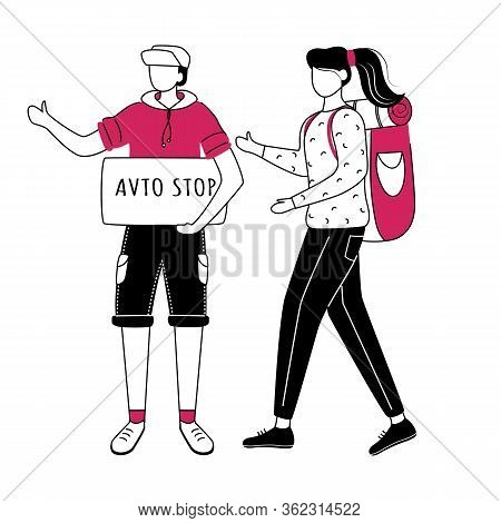 Hitchhiking Flat Contour Vector Illustration