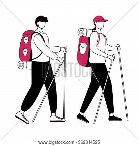Hiking Flat Contour Vector Illustration. Budget Tourism. Cheap Travelling Ideas Isolated Cartoon Out