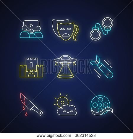 Movie Categories Neon Light Icons Set. Different Film Types, Cinema Genres Signs With Outer Glowing