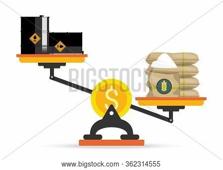 Dollar Scales With Oil Barrels And Rice Sacks. Concept Of Opposition On Oil Market. Oil Price Fall D