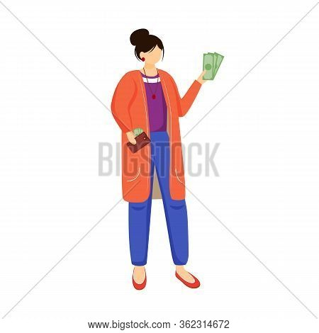 Woman With Money Flat Vector Illustration