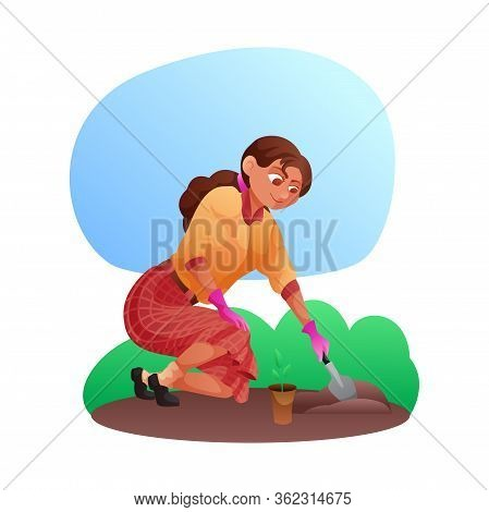Cartoon Smiling Young Woman Characters In Gloves With Shovel Planting, Growing, Cultivating Seedling