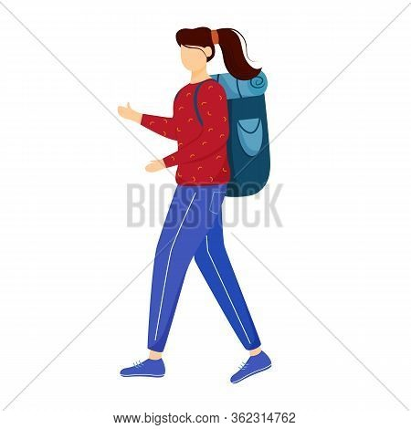 Girl Tourist With Backpack Flat Vector Illustration. Camping And Hiking. Budget Tourism. Cheap Trave