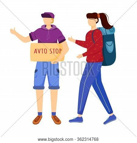 Hitchhiking Experience Flat Vector Illustration. Trip Ideas For Youth. Budget Tourism. Boy And Girl