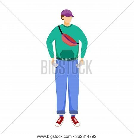 Student Without Pocket Money Flat Vector Illustration. Young Person Doesnt Have Cash. Poor Youth. Br