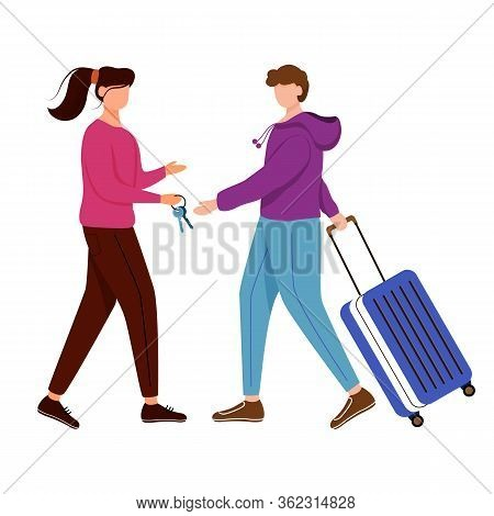 Couchsurfing Flat Contour Vector Illustration. Lodging Without Charge. Girl Gives Keys To Her Guest.