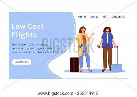 Low Cost Flights Landing Page Vector Template