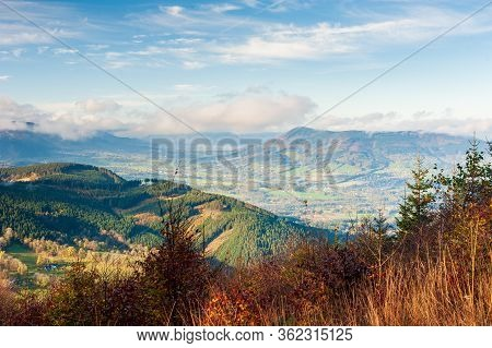Sunrise In Beskydy Mountains With Fog In The Valley And Dramatic Cloudy Sky, Beutiful Sunny Morning