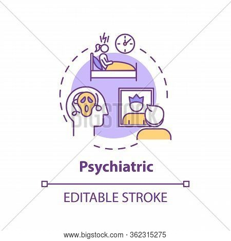Psychiatric Concept Icon. Cannabis Caused Mental Disorders Idea Thin Line Illustration. Psychologica