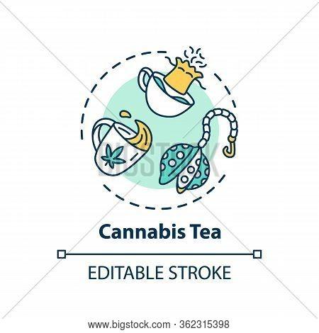 Cannabis Tea Concept Icon. Marijuana Plant Decoction, Herbal Decoction Idea Thin Line Illustration.