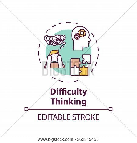 Difficulty Thinking Concept Icon. Marijuana Use Side Effect Idea Thin Line Illustration. Confusion,