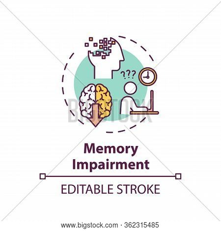Memory Impairment Concept Icon. Cannabis Use Adverse Side Effect Idea Thin Line Illustration. Cognit