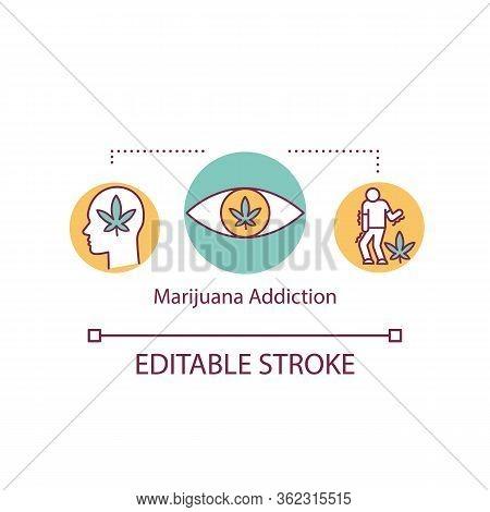 Marijuana Addiction Concept Icon. Psychoactive Drug Dependance Idea Thin Line Illustration. Weed Smo