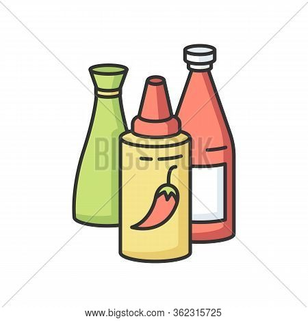Sauces Rgb Color Icon. Ketchup In Bottle. Condiment For Barbecue Cooking. Recipe Ingredient. Meal Dr