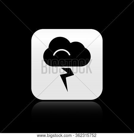 Black Storm Icon Isolated On Black Background. Cloud And Lightning Sign. Weather Icon Of Storm. Silv