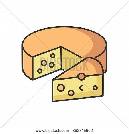 Cheese Rgb Color Icon. Dairy Product. Cooking Recipe Ingredient. Milk Based Food Item. Healthy Appet