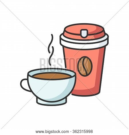 Tea And Coffee Rgb Color Icon. Coffee In Disposable Cup For Takeaway. Aromatic Black Tea In Mug. Cap