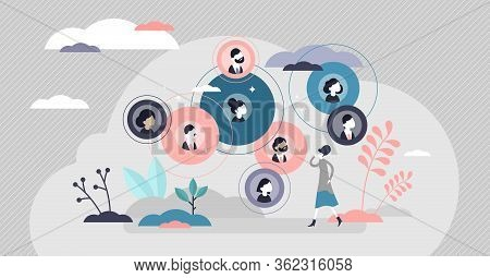Connected Relationships Vector Illustration. Mutual Contacts Network In Flat Tiny Persons Concept. S