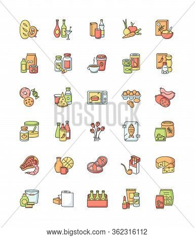Groceries Category Rgb Color Icons Set. Various Supermarket Food Sections. Drink Products For Ecomme