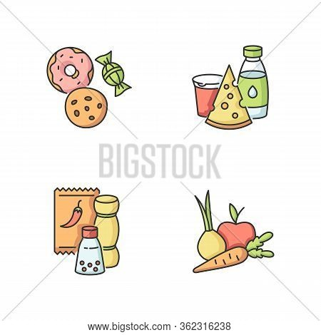 Supermarket Food Rgb Color Icons Set. Candy And Cookies. Peper In Pack. Sweet Pastry. Dairy Products