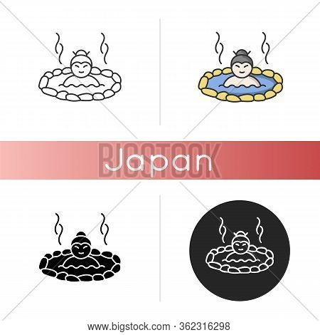 Hot Spring Icon. Japanese Onsen. Spa Resort For Recreation. Warm Volcanic Pool For Resting. Outdoor
