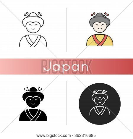 Geisha Icon. Japanese Woman In Asian Attire. Geiko In Costume With Traditional Hairstyle. Maiko In C