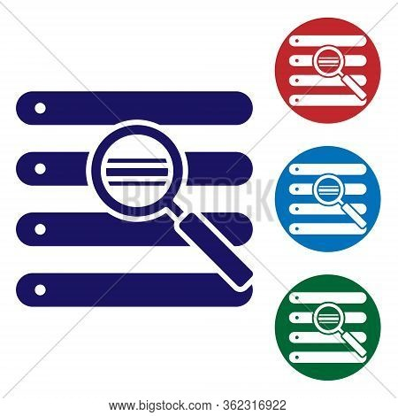 Blue Search In A Browser Window Icon Isolated On White Background. Set Icons In Color Square Buttons