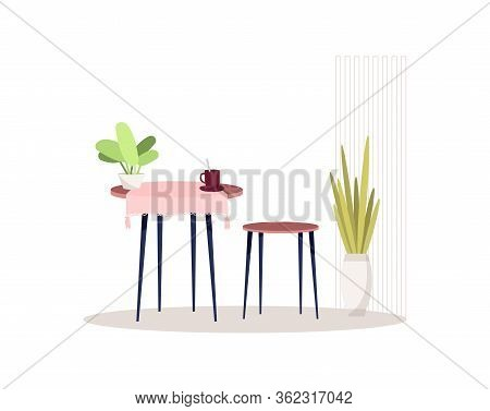 Kitchen Cosy Interior Semi Flat Rgb Color Vector Illustration. Coffee Table With Chairs. Tea Mugs In