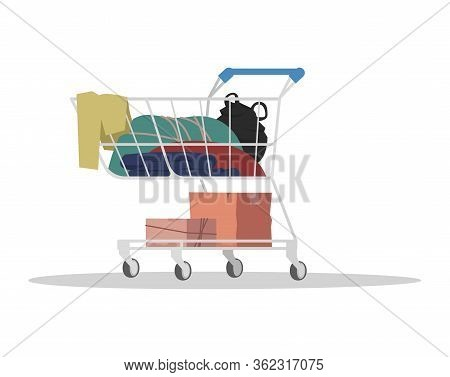 Shopping Cart With Garbage Semi Flat Rgb Color Vector Illustration. Dirty Things In Container. Pushc