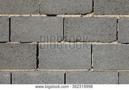 Slag (cinder) Blocks Or Expanded Brickwork. Grey Wall, Texture And Background. Slag Bricks In Buildi