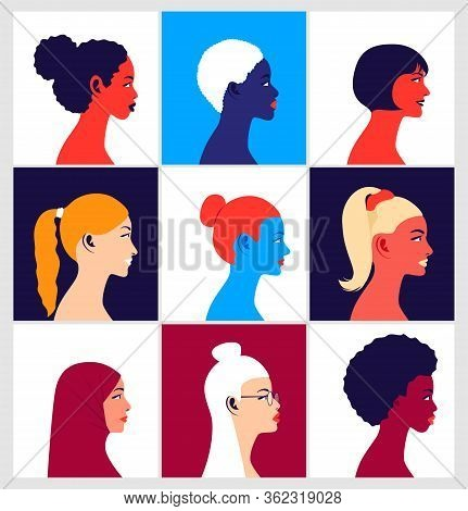 Multinational Women Avatars Set. Young Multi Ethnic Women In Profile. Icons For Social Media. Fashio