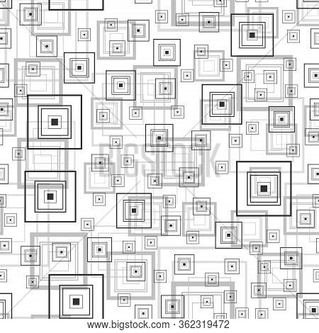 Abstract Square Rectangle Seamless Pattern Background Sketch Engraving Vector Illustration. T-shirt