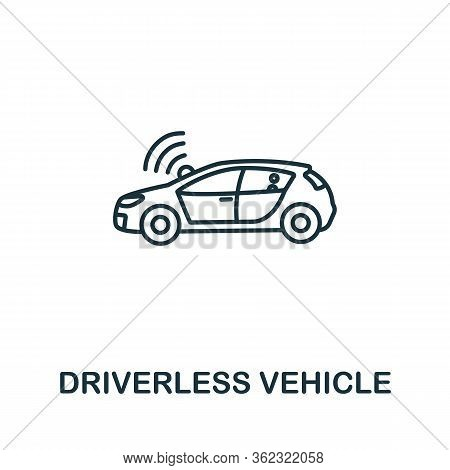 Driverless Vehicle Icon From Artificial Intelligence Collection. Simple Line Driverless Vehicle Icon
