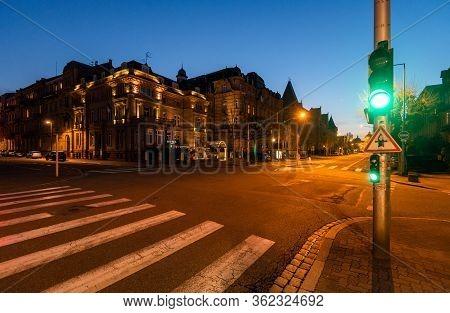 Strasbourg, France - Mar 17, 2020: Empty Avenue De La Liberte As City Imposes Emergency Measures To