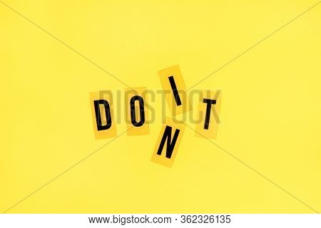 Bright Yellow Background With Letters. Motivational Concept, Just Do It.