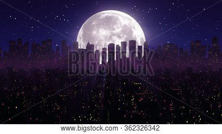 80s Night City Synthwave Vj Cyberpunk Background With Neon Lights, Moon, Stars