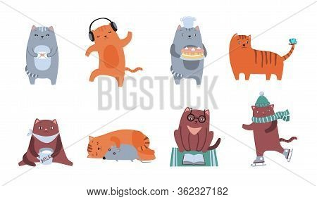 Cute Cats Flat Icon Kit. Fluffy Feline Characters Sitting, Sleeping, Dancing, Playing, Reading, Drin
