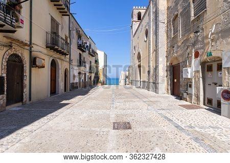 Cefalu, Italy - March 24, 2019: Empty Walkway Leading To Bastione Di Capo Marchiafava Bastion Lookou
