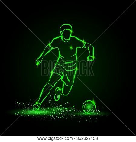Soccer Player Dribbling With Ball. Vector Football Sport Green Neon Illustration.