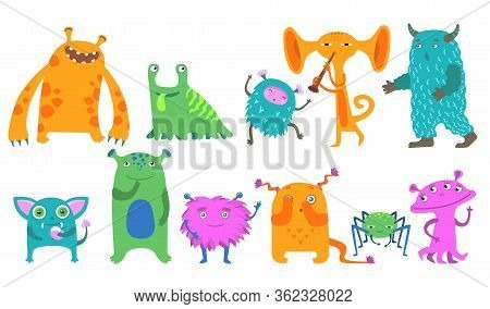 Cartoon Monsters Flat Icon Kit. Cute Little Funny Creatures Vector Illustration Collection. Hallowee