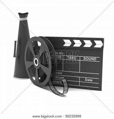 Movie clapper and film strip and megaphone